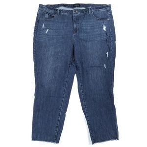 Talbots High Waist Slim Straight Distressed Jeans